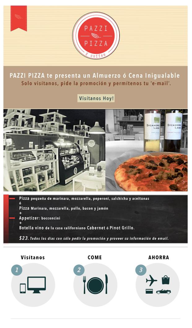 Pazzi Pizza – Pizzeria Italiana Autentica en Guaynabo. PIZZA, APPETIZER + BOTELLA DE VINO $23. Visitanos. (787) 957-5665
